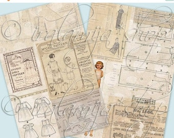 SALE SEWING PATTERN Collage Digital Images -printable download file Digital Collage Sheet Vintage Paper Scrapbook