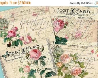 SALE FLORAL POSTCARDS collage Digital Images  -printable download file-