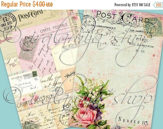 SALE BIG PoST Card BACKGROUNdS Collage Digital Images -printable download  file-