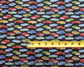 Mini Classic Vintage Cars 1940's 1950's on Black BY YARDS TT Cotton Fabric