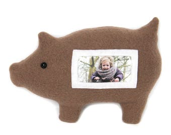 Varken fotolijst / knuffelvarken / bruin varken / Furry Frame