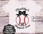 Daddy's Biggest Fan with Bow Custom Personalized, Baseball Daughter Shirt, Fan, Toddler Clothes Baby Girl Onesie Outfit Charming Necessities