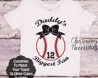 Daddy's Biggest Fan with Bow Custom Personalized, Baseball Daughter Shirt, Fan, Toddler Girl Clothes, Baby Girl Outfit, Charming Necessities