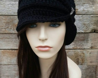 Vintage Inspired Cloche Hat with Glass Beading, Flapper Hat, Women's Hat Black Hat Wool Hat 1920s Style Hat Womens Winter Hat, MADE TO ORDER
