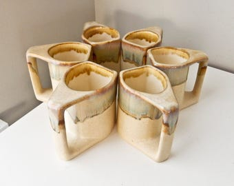 Rodolpho Padilla Mid-Century Coffee Mugs Set of Six Modern Coffee Cups