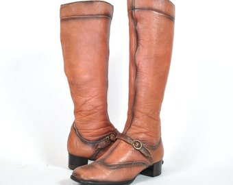 Sepia 60s Mod Leather Buckle Boots Size 6.5