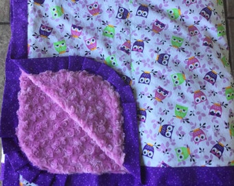 Purple and Lime Green Owl Minky Blanket - HUGE - Adult Wrap Around Blanket - Can be personalized