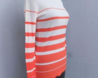 Vintage 1970s Turtleneck, Orange and White Stripe, Marabella Knits California