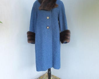 Vintage Wool Coat W/MINK Collar and Cuffs, L.L. BERGER Buffalo N.Y., Blue Coat, Large, Bust up to 40