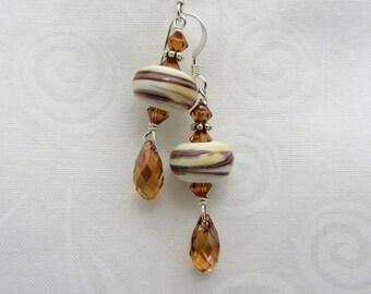 Lampwork Earrings White and Brown Swirl Earrings Glass Bead Earrings Dangle Drop Earrings SRAJD USA Handmade