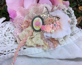 Boho Chic, Shabby Chic, Fairy Treasures,  Hair Barrette, Fascinator, Pink Roses, Lace and Ribbon, Hair Jewelry