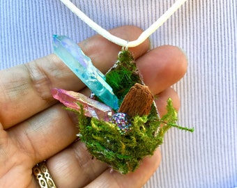 Fairy Treasures Pendant, Quartz Crystal Wand, Moss, Pink and Blue Faery Accessory