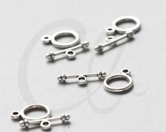 30 Sets Oxidized Silver Tone Base Metal Toggle Clasps (815Y-K-226)