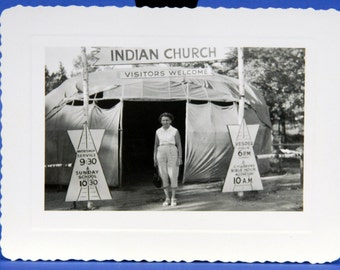 Indian Church Sign and Tent American West 1940's B & W Photo Snapshot 15960