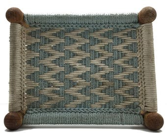 Vintage Farmhouse Woven Chevron Foot Stool
