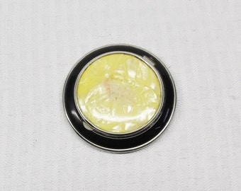 20s 30s Vintage Yellow Marbled and Black Enamel Compact