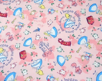 Disney Fabric  Alice in Wonderland  50 cm by 106 cm or  19.6 by 42 inches Half meter