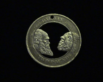 Charles Darwin - cut coin jewelry - 2009 - Great Britain - Chimpanzee - MY FAVORITE