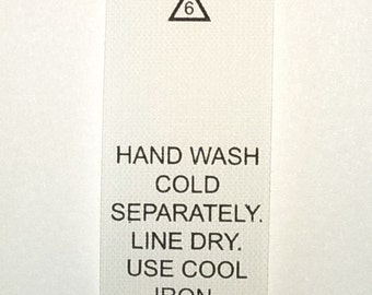 Hand Wash Cold Printed Garment Care Tags (Package of 50) Number 6T