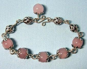 Handmade Rose Quartz Sterling Silver Bracelet