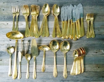 Silverware Gold Tone silverware Solingen W Germany 23/24 K Gold Plated Flatware Holiday silverware Service for 12