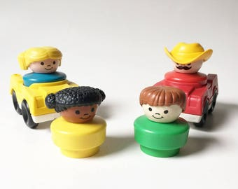 Fisher Price Cars and People 1990 Chunky People Little People