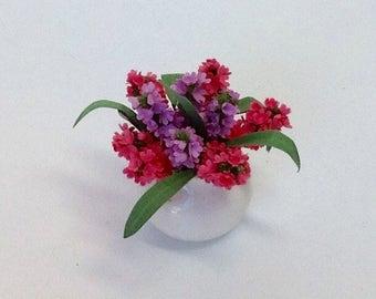 Dollhouse Miniature Easter Pink and Purple Hyacinths Arrangement