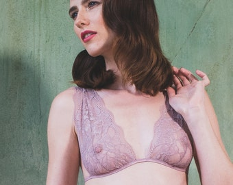 Lilac Lace bra, sexy lingerie, bralette, lace, sheer, see through, gift for her, panties, knicker, underwear, erotic, christmas, underwear