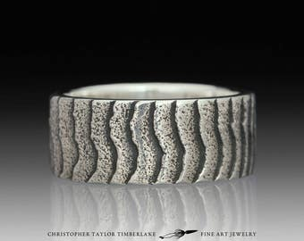 Cuttlefish Cast Sterling Silver Wide Ridge Ring
