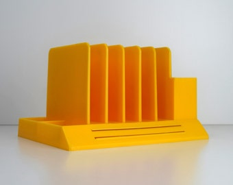 Vintage Max Klein Sunflower Yellow Plastic Desk Organizer, Bright Yellow Mail Sorter, Office or Desk Accessory