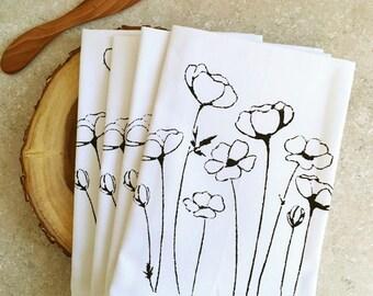 Buttercup cotton napkins,reuseable napkins,cotton napkins,kitchen decor,unique wedding gift,eco-friendly,screenprinted napkins,hostess gift