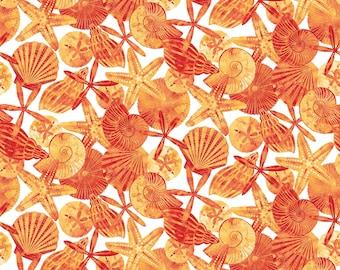 Beach Fabric Cotton Quilt Ocean Tides Northcott 21513-56 Beach Seashells Material 1/2 yard cut