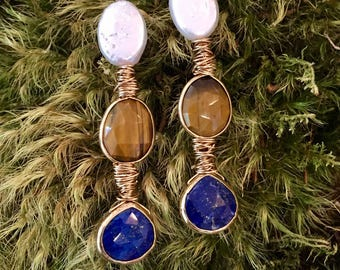 Freshwater pearl, gold set tigers eye and lapis teardrop wired dangles earrings