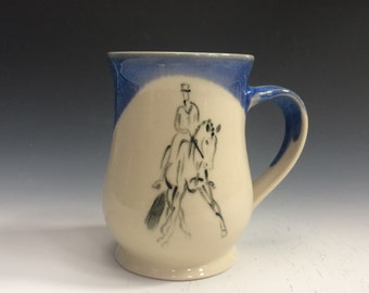 Dressage Horse Mug- Bright Blue