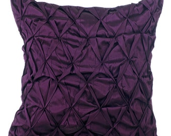Plum Decorative Throw Pillow Cover, Sofa Pillow Cases 16x16 Couch Pillows Plum Taffeta Texture Pillow Cover - Phenomenal Plum