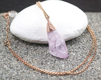 Pink Kunzite pendant necklace, Natural Kunzite, 14k Rose Gold Filled Necklace, Layering Necklace, Gift for Her