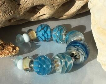 Handmade Lampwork Glass Beads SRA Blue Sand Blooms Encasement Florals (12)