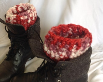 SALE - Red Mix Chunky Ribbed Edge Boot Cuffs
