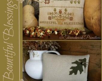 Primitive Cross Stitch Pattern - Bountiful Blessings