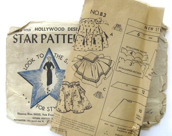 1940s Vintage Sewing Pattern - Hollywood Star Pattern 83 - Half APRONs / One Size