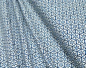 Jersey Flower starter blue on white Cotton Jersey Knit Fabric 0.54yd (0,5m) 003283