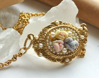Porcelain Roses Gold Necklace with Pearl Accents