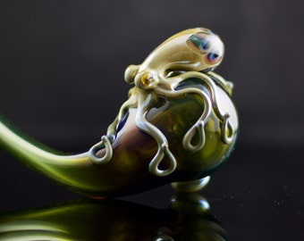 Octopus Sherlock / Large Glass Pipe / Handmade Pipe / Heady Glass / Glass Tobacco Pipe / Alien Tech & Caramel / Ready to Ship #458