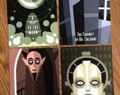 Silent Movie Postcards. Set of four 5x7 cards.