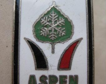 Aspen Pin Lapel Brooch Enamel Black Green Red Silver Vintage