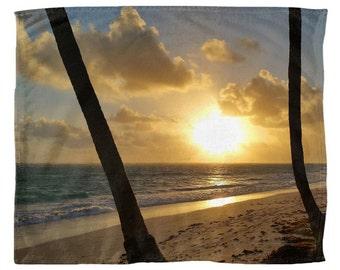 Throw Blanket, Fleece Blanket, Sofa Throw, Photo 22 Ocean Beach Sea sunset Lucie Dumas