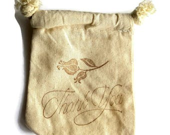6 Muslin Bags, Brown Flower and Thank You, Gift Bags, Packaging, 4x4 Inches, Hand Stamped, Party Favor Bags