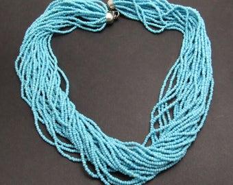 Blue Torsade Seed Bead Necklace Vintage Necklace N7690
