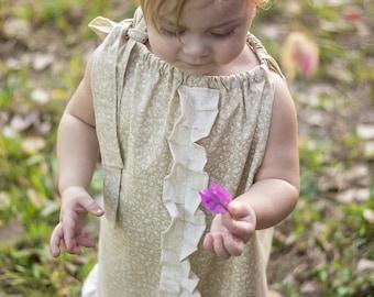 Boho flower girl dress - Bohemian flower girl dress - Fall wedding - beach wedding - girls dresses - pillowcase dress - flower girl dress