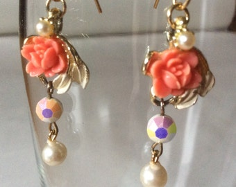 Coral rose, faceted moonglow glass bead, and faux pearl, earrings, made from vintage jewelry